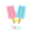 Ice cream with bow on sticks Love card vector image