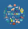 iceland symbols flat tourist vector image vector image