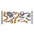 iron chain collection color set vector image vector image