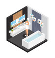 isometric woman in bathroom concept vector image vector image