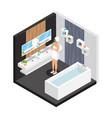 isometric woman in bathroom concept vector image