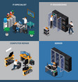 it engineers 2x2 icons set vector image vector image