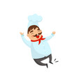 joyful chef in jumping action cartoon character vector image
