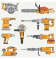 Line flat icon set with building electrical vector image
