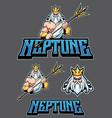 neptune poseidon mascot vector image vector image