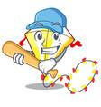 playing baseball kite cartoon fly away in sky vector image