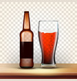 realistic bottle and glass of dark beer vector image vector image
