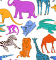 Seamless pattern of animals vector image vector image