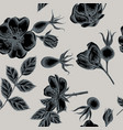 seamless pattern with hand drawn stylized dog rose vector image
