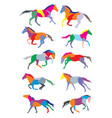 set horses colorful silhouettes vector image vector image
