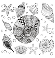 set Sea Shells zentangle shelsl for adult vector image