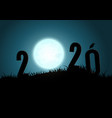 silhouette numbers 2020 mountains with moon vector image