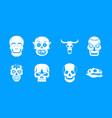 skull icon blue set vector image
