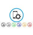 smartphone configuration gear rounded icon vector image