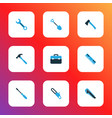 tools icons colored set with screwdriver hammer vector image