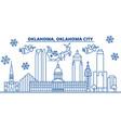 usa oklahoma oklahoma city winter city skyline vector image vector image