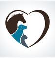 veterinarian heart animal love horsedog and cat vector image vector image