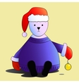 White bear in red Santas hat isolated vector image vector image
