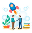 young businessmen employees students shake hands vector image