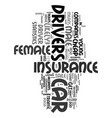young female cheap car insurance text word cloud vector image vector image