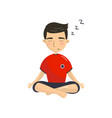 young man meditating in yoga lotus position vector image