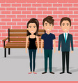 young people in the park chair characters scene vector image