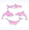 set of cute pink underwater life creatures vector image