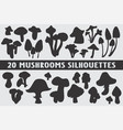 20 mushroom silhouettes various design set vector image vector image
