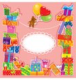 baby birthday card with teddy bear and gift boxes vector image vector image