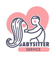 babysitter service isolated icon mother and baby vector image vector image