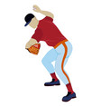 baseball pitcher throwing ball flat vector image