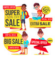 big sale banner set school children pupil vector image vector image