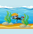 boy scuba diving under the ocean vector image vector image
