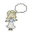 cartoon confused girl with thought bubble vector image vector image