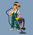 cartoon male cleaner in uniform with vacuum vector image