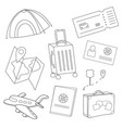 cartoon set icons tourism air travel vector image vector image