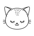 cat face wink eye black and white vector image vector image