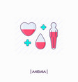 collection of anemia icons heart drop and human vector image