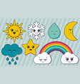 collection weather characters cute vector image