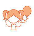 cute girl with party balloon character icon vector image vector image