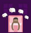 cute sloth sleeping mask eyes jumping sheeps cant vector image vector image