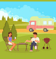 family bbq flat style design vector image vector image