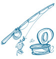 fishing logo fishing rod and a can worms vector image vector image
