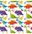 flat dinosaur seamless background vector image