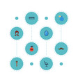 flat icons looking-glass elbow chair female and vector image vector image