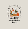 funny turkey with harvest in autumn wreath vector image vector image