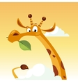 Giraffe Character Holding A Leaf vector image vector image