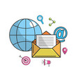 global e-mail message technology icon vector image vector image