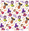 halloween seamless pattern with kids in vector image vector image