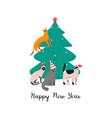 happy new year holiday poster with funny cats vector image vector image